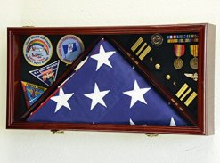 Large Flag & Medals Military Pins Patches Insignia Shadowbox (Cherry Finish)