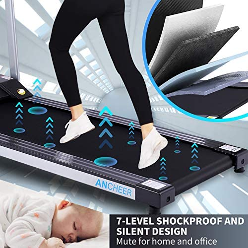 ANCHEER Folding Treadmill, Treadmills for Home with LCD Monitor Motorized,Pulse Grip and Safety Key,Top Indoor Exercise Machine Trainer Walking Running for Home & Office Workout 5