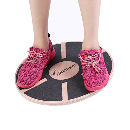 Sportneer Wooden Balance Board for Exercise, Gym, Sport Performance Enhancement, Rehab, Training