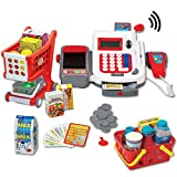Liberty Imports Multi-Functional Educational Pretend Play Electronic Toy Cash Register with Microphone, Scanner, Scale, Calculator, Credit Card Reader, Shopping Basket and Groceries (Classic)