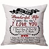 Best Anniversary Gifts For Lover Wife Nordic Sweet Warm Sayings To My Wonderful Wife When I Tell You I Love You Cotton Linen Decorative Throw Pillow Case Cushion Cover Square 18 X 18 Inches