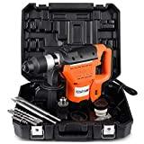 Goplus Electric Rotary Hammer, 1-1/2' SDS Rotary Hammer Drill with Vibration Control, 3 Drill Functions, Plus Demolition Bits, Includes 3 Drill Bits,Point and Flat Chisel with Case