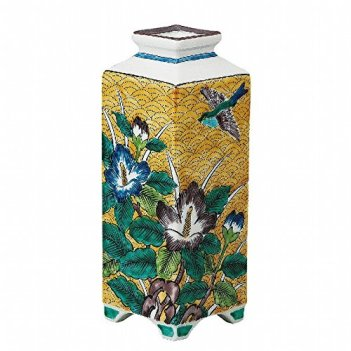 Jpanese traditional ceramic Kutani ware. Ikebana flower vase. Yoshidaya confederate rose. With paper box. ktn-K5-1236