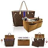LEXSION Felt Fabric Purse Handbag Organizer Bag - MultiPocket Insert Bag Light Brown L