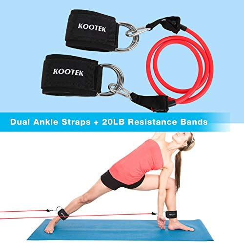 Kootek 10 Pieces Resistance Loop Bands Set – Workout Bands for Leg and Butt Training High Elasticity Exercise Band with Door Anchor 2 Core Sliders Legs Ankle Straps Guide Book for Home Fitness Gym 7