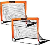 EliteGo Portable Soccer Goal   Instant Pop Up Net   Fiberglass Poles, Sets of 2 (Orange)