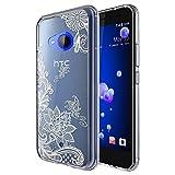 HTC U11 Life Case, (Not Fit HTC U11), Skmy Shockproof Hard PC+ TPU Bumper Case Scratch-Resistant Cover for HTC U11 Life (Lace Flower)