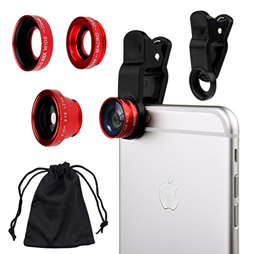 Universal 3in1 Cell Phone Camera Lens Kit for Smartphones including - Fish Eye Lens / 2 in 1 Macro Lens & Wide Angle Lens/Universal Clip/Carry Pouch/Microfiber Cleaning Cloth