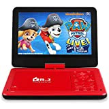 DR. J 12.5' Portable Car Video DVD Player 10.5' Internal Swivel Screen with 5 Hours Rechargeable Battery, Video Player with AV Cable Sync TV, Region-Free DVD Player with Car Charger Red