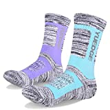 YUEDGE Women's 2 Pairs Wicking Breathable Cushion Casual Crew Socks Outdoor Multi Performance Athletic Hiking Socks