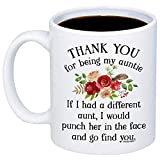 MyCozyCups Aunt Gifts - Thank You For Being My Aunt Coffee Mug - Funny Unique Gift Idea 11oz Cup For Your Best Effin Auntie From a Niece or Nephew - Birthday, Christmas, Mother's Day Gift For Her