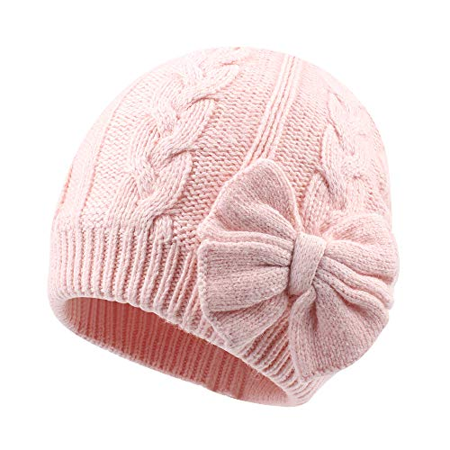 Winter Warm Knitted Baby Hat for Girls Cotton Lined Infant Toddler Girls Hat Autumn Cute Bow Classic Girls Beanie 0-6Y(L,Pink)