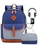 School Backpack with Lunch Bag, Bookbags Set for Teen Girls high School College Backpack with USB Charging Port Laptop Backpack Fits 15.6 inch Laptop(Blue Set)