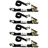 2' X 6' Salt Spreader Ratchet Straps with Wire Hooks BOSS and VBOX Spreaders - 4 Pack