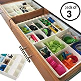 Uncluttered Designs Adjustable Drawer Dividers for Utility Drawer Kitchen Storage and Organization (3 Pack)
