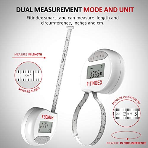 Smart Body Tape Measure, FITINDEX Bluetooth Digital Measuring Tape for Body, Soft Sewing Tape, with LED Monitor Display, Lock Pin, Retractable Button, Fitness Body Measurement via Phone App 4