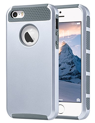 ULAK iPhone SE Case Silver, iPhone 5S Case, iPhone 5 Case, Slim Fit Dual Layer Protection Case Shock Absorbing Hard Rugged Ultra Protective Back Rubber Cover with Impact Protection(Silver+Gray)