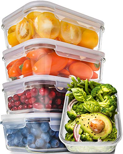 [5-Pack,30oz] Glass Meal Prep Containers - Food Prep Containers with Lids Meal Prep - Glass Food Storage Containers Airtight - Lunch Containers Portion Control Containers - BPA Free Container