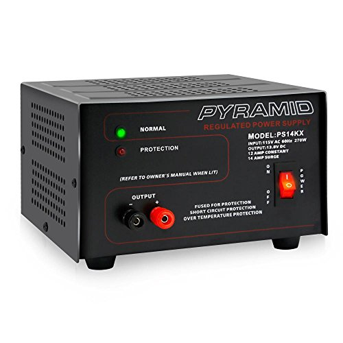 Universal-Compact-Bench-Power-Supply-12-Amp-Linear-Regulated-Home-Lab-Benchtop-AC-to-DC-12V-Converter-w-138-Volt-DC-115V-AC-270-Watt-Power-Input-Screw-Type-Terminals-Cooling-Fan-Pyramid-PS14KX-BLACK