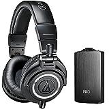 Audio Technica ATH-M50X Professional Studio Headphones (Black) with FiiO A3 Portable Headphone Amplifier (Black)