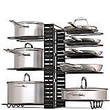GeekDigg Pot Rack Organizer, 3 DIY Methods, Height and Position are Adjustable 8+ Pots Holder, Black Metal Kitchen Cabinet Pantry Pot Lid Holder