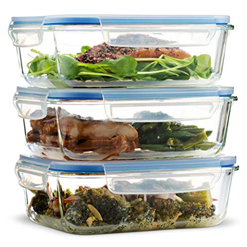 Superior Glass Meal Prep Containers - 3-pack (35oz) BPA-free Airtight Food Storage Containers with 100% Leak Proof Locking Lids, Freezer to Oven Safe Great on-the-go Portion Control Lunch Containers