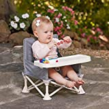 hiccapop Omniboost Travel Booster Seat with Tray for Baby | Folding Portable High Chair for Eating, Camping, Beach, Lawn, Grandma's | Tip-Free Design Straps to Kitchen Chairs - Go-Anywhere High Chair