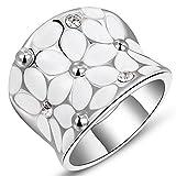 Fashion Month Womens Elegant Enamel Flower White Gold Band Bloom Petal Platinum Wedding Engagement Ring Crystal Inlay Size 8
