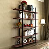 Product review for Tribesigns 5-Tier Bookshelf, Vintage Industrial Style Bookcase 70 '' H x 12'' W x 47''L, Cherry