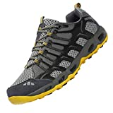Dabbqis Hiking Shoes for Men Trail Running Sneakers Lightweight Athletic Trekking Boots Breathable Water Shoes (11, Improved Gray)