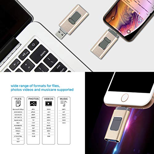 USB-Flash-Drive-for-iPhone-Flash-Drive-256GB-photostick-Mobile-for-iPhone-USB-30-iPhone-External-Storage-3in1-Thumb-Drive-Compatible-with-iPhoneiPadiOSAndroidMacPC-256GB-Gold