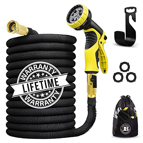 J&B XpandaHose 75ft Expandable Water Garden Hose with Holder - Heavy Duty Triple Layered Latex Core and Free 10 Spray Nozzle with Storage Bag - Light Weight Flexible and Solid Brass Ends