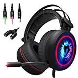 [NEW 2018 Upgraded] Gaming Headset with Mic for PC, XBox One S, PS4, Nintendo, Laptop - Best 7.1 Surround Stereo Sound, Noise Cancelling - Soft Breathing Wired Over-Ear Game Headphones - USB LED