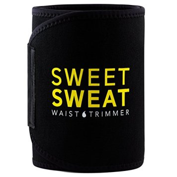 "Sports Research Sweet Sweat Premium Waist Trimmer (Yellow Logo) for Men & Women. Includes Free Sample of Sweet Sweat Gel! (Med: 8"" Width x 41"" Length)"