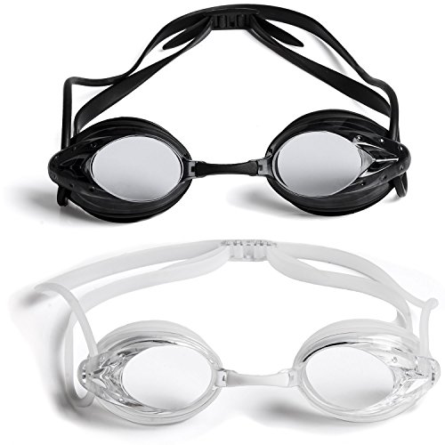The Friendly Swede 2 Pack Swim Goggles for Adults with Interchangeable Nose Pieces and Protective Cases, Black and Clear (Black + Clear)