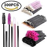 BTArtbox Disposable Makeup Applicator Mascara Wands & Lipstick Applicators & Eyeliner Brush 300PCS Daily Makeup Brushes Sets Kits 6 Styles (Black)