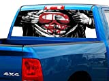"P502 Superman Tint Perforated Rear Window Decal 65"" x 17"" Universal Wrap F150 F250 1500 2500 PickUp SUV Ford Dodge Chevy Ram GMC Jeep Cherokee Wrangler"