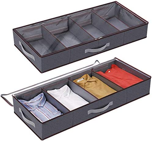 Lifewit Under Bed Clothes Organizer Large Adjustable Dividers Storage Bag with Durable Fabric, Reinforced Handle, 4 Clear Window for Clothing, Shoes, Blankets, Sweaters, Toys, Grey, 2 Pack