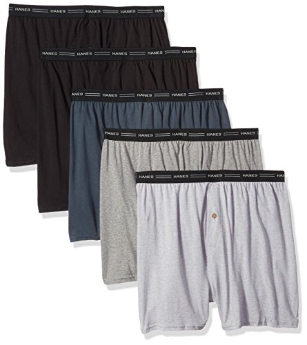Hanes Men's 5-Pack Exposed Waistband Knit Boxers, Assorted, X-Large