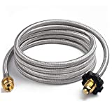 SHINESTAR 10FT Stainless Steel Braided Propane Hose Adapter 1lb to 20lb, Propane Converter Hose for Buddy Heater, Tabletop Grill and More 1LB Portable Appliance