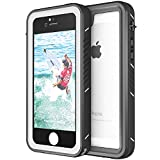 Waterproof Case for iPhone 5S/SE, Eonfine Shockproof Protective Full-Sealed Hard Cover, Underwater IP68 Certificated with Touch ID Snow Dust Dirty Proof Case for iPhone 5S SE (Black+Gray)