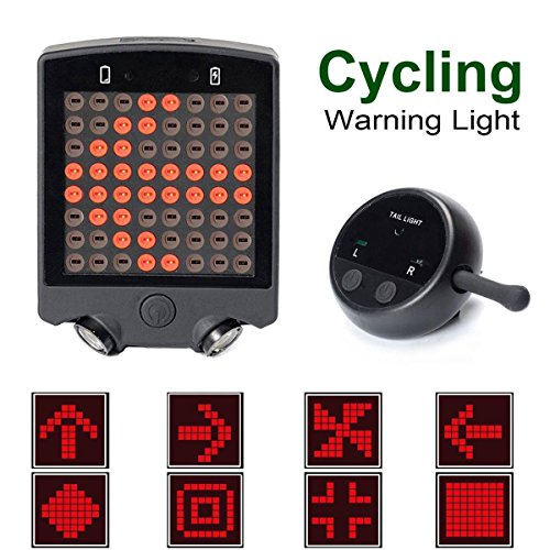 WildGrow Bicycle Turn Signals light, 64 LED 15 Lumen Rechargeable Waterproof Wireless Bike Warning Taillight for Mountain BMX Road Hybrid Bike