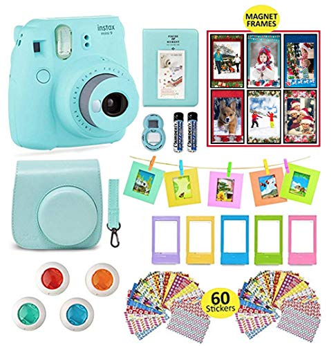 Fujifilm Instax Mini 9 Camera Accessories | Bundle of Soft Leather Case + Mini Photo Album + 6 Magnet Frames + 4 Colored Lenses + Selfie Lens + 10 Photo Frames + Stickers + More