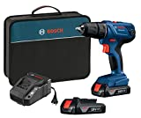 Bosch 18V Compact 1/2' Drill/Driver Kit with (2) 1.5 Ah Slim Pack Batteries GSR18V-190B22