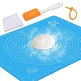 Silicone Baking Mat with Measurements - Heat Resistant, BPA Free, Non-Stick Pastry Mat for Rolling Dough - Easy to Clean Silicone Mat - Does Not Discolor-Blue