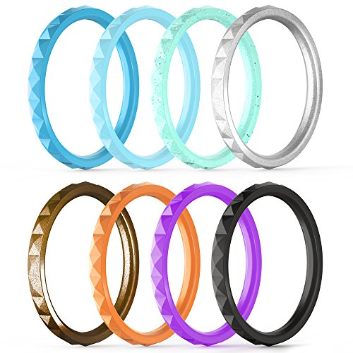 Thunderfit Thin And Stackable Silicone Rings 8 Pack 4