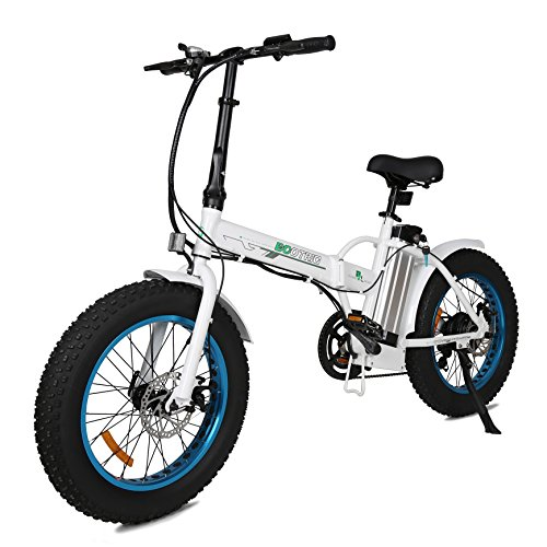 """ECOTRIC 20"""" New Fat Tire Folding Electric Bike Beach Snow Bicycle ebike 350W electric moped Electric Mountain Bicycles … (White and Blue)"""