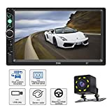 Car Stereo with Bluetooth 7 Inch Capacitive Touch Screen Double Din Car Stereo with Backup Camera and Steering Wheel Control Support Daul System Mirrorlink