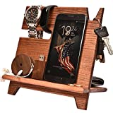 Wood Cell Phone Stand Watch Holder. Men Wireless Device Dock Organizer Mobile Base Nightstand Charging Docking Station. Women Accessories Wooden Storage. Bed Side Caddy Teen Valet Happy Birthday Gift