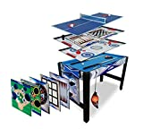 Triumph 13-in-1 Combo Game Table Includes Basketball, Table Tennis, Billiards, Push Hockey, Launch Football, Baseball, Tic-Tac-Toe, and Skee Bean Bag Toss